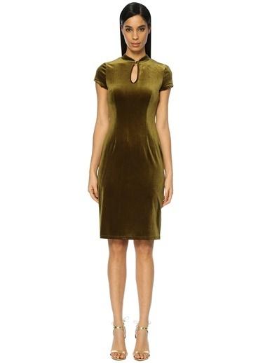 Glamorous Kısa Kollu Kadife Elbise Yeşil
